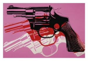 """GUN"" by Andy Warhol, circa 1981-82 (black, red and white on pink)"