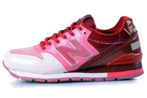 New Balance retro running shoe, pink, red and white