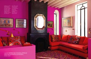 Pink and red interior design