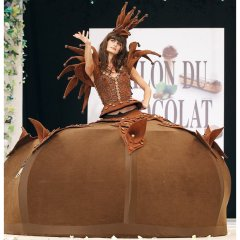 Model Irene Salvador wears dress constructed entirely of chocolate made by Chapon, for the 16th Salon du Chocolat in Paris