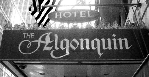 "alt=""Entrance to the Algonquin Hotel in New York City"""