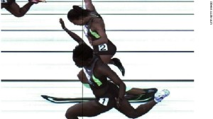 Sprinters Allyson Felix and Jeneba Tarmoh finished the 100 meter in the track and field trials at the same time - even a camera recording 3,000 frames a second couldn't tell who won,