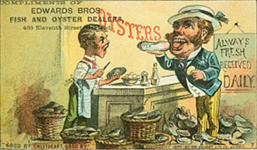 """Always Fresh, Received Daily!"" Oyster illustration. (Courtesy of the Library of Congress)"