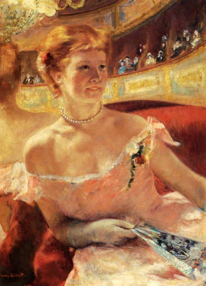 "alt=""Mary Cassatt's 'Woman with a Pearl Necklace in a Loge.' (Mary Cassatt, c. 1886)"