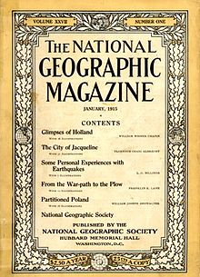 The cover of the Original National Geographic Society magazine