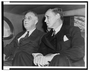 "alt=""President Franklin D. Roosevelt with Harry Hopkins, 1938. (Courtesy, Library of Congress)"""