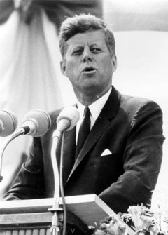 John Fitzgerald Kennedy gives his Inaugural Address in 1961