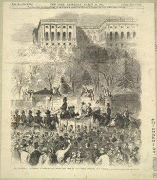"alt=""Abraham Lincoln's Inauguration, Harper's Weekly, March 16, 1861."""