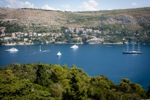 "alt=""Modern view from Napoleon's Lookout on Lokrum Island, Croatia"""