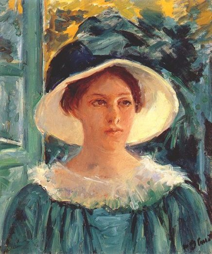 500px-Cassatt_Mary_Young_Woman_in_Green,_Outdoors_in_the_Sun_1914