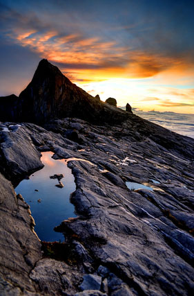 Mount Kinabalu, near Low's Peak, at sunrise.