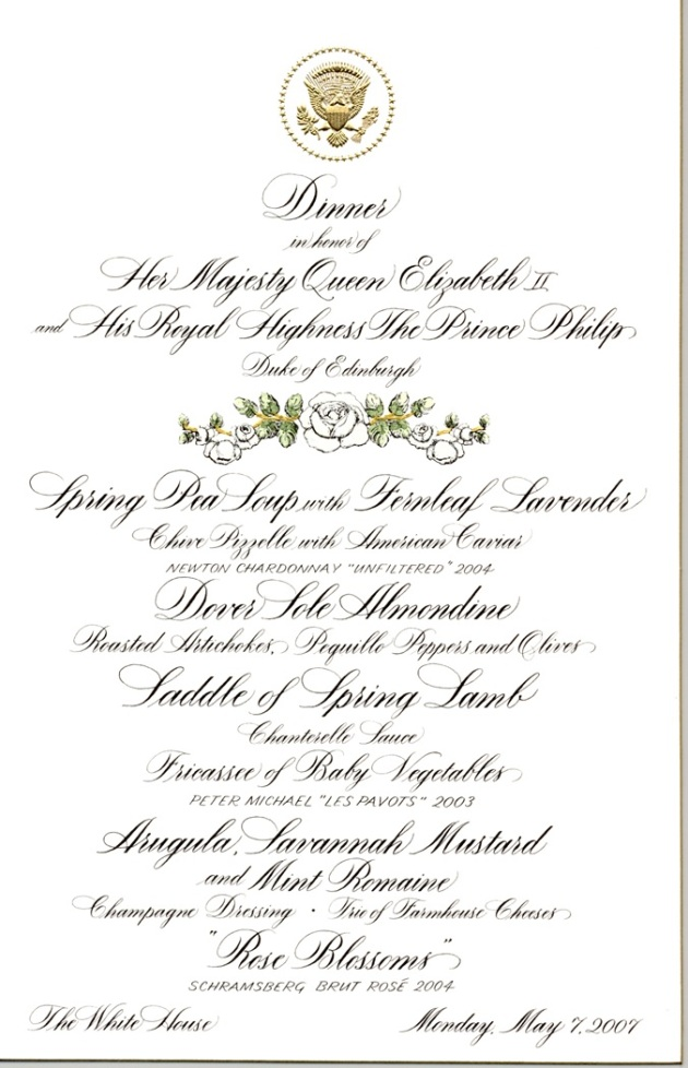 Menu for the State Dinner in honor of Her Majesty Queen Elizabeth II and His Royal Highness the Prince Philip, Duke of Edinburgh, held on May 7, 2007.