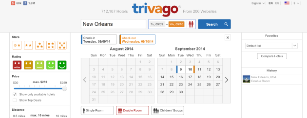 Trivago lets you compare hotel fares on 200+ booking sites at once