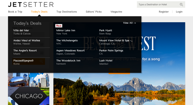 Jetsetter is an invite only online community of travelers that provides members with deals to high-end hotels