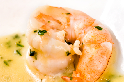 Court Bouillon poached prawns
