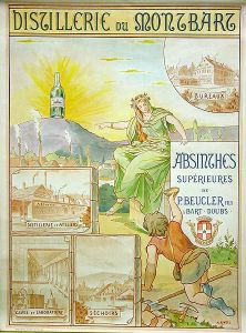 An advertising poster for Absinthe Beucler