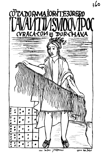 Illustration of a quipu, from Felipe Guaman Poma de Ayala's chronicle (c. 1615). (Courtesy of Wikipedia Commons)