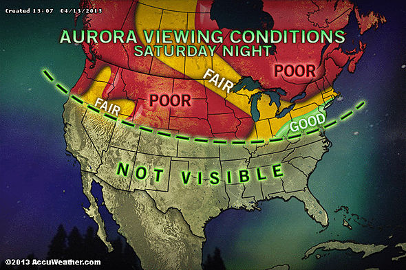 Visibility map of the Northern Light show in North America, Saturday, April 13th. (Map courtesy of AccuWeather.com)