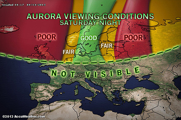 Visibility map of the Northern Light show in Europe, Saturday, April 13th. (Map courtesy of AccuWeather.com)