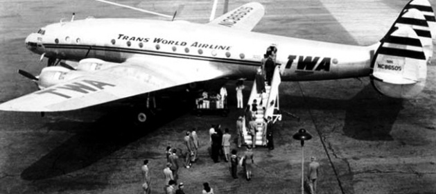Passengers board Trans World Airline Constellation aircraft. c. 1940's. (Library of Congress)