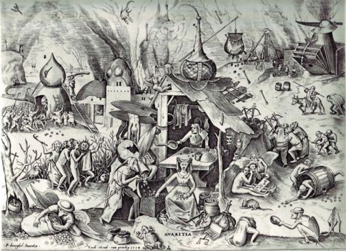 Pieter Bruegel the Elder- The Seven Deadly Sins or the Seven Vices - Avarice or 'Greed'