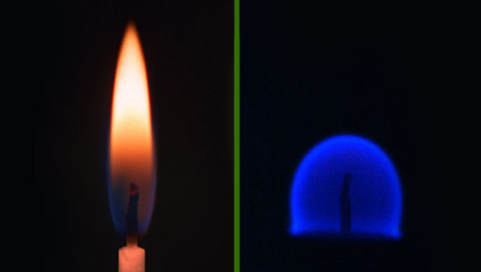 A candle flame in Earth's gravity (left) and microgravity (right) showing the difference in the processes of combustion in microgravity. Image courtesy Wikipedia Commons.