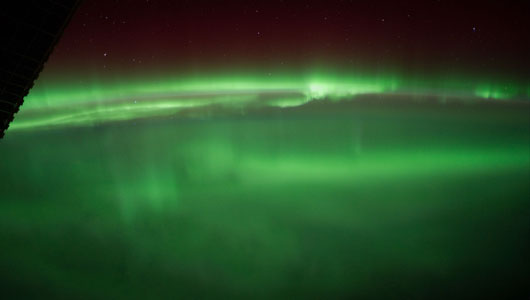 Aurora borealis, the Northern Lights, from the International Space Station.