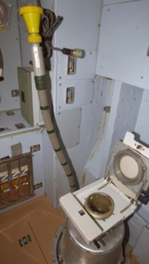 Toilet on the International Space Station.  Image courtesy Wikipedia Commons.