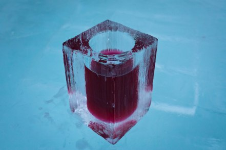 Vodka and lingonberry juice. On ice.