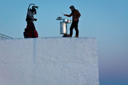 Same guy: musician making art on top of the Icehotel.
