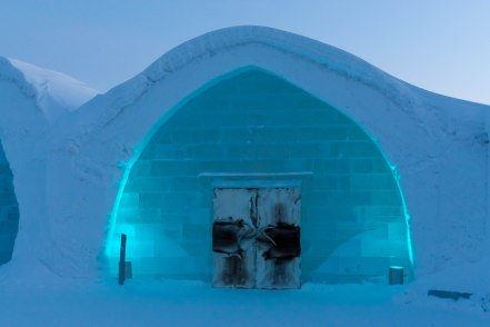 The main entrance to the Icehotel.