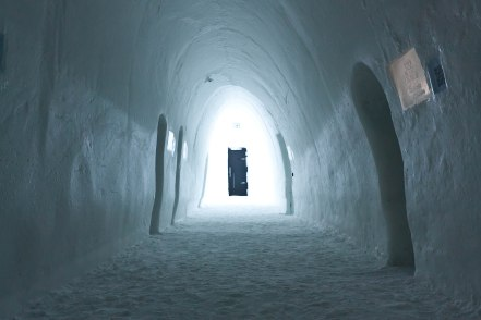 Wandering the grounds of the ice hotel. room corridor.