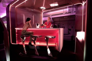 New upper class bar and cabin created by Virgin Atlantic and VW+BS studio. (Courtesy of Virgin)