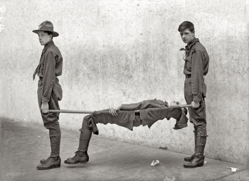 """One marshmallow too many."" Boy Scouts, c 1912"