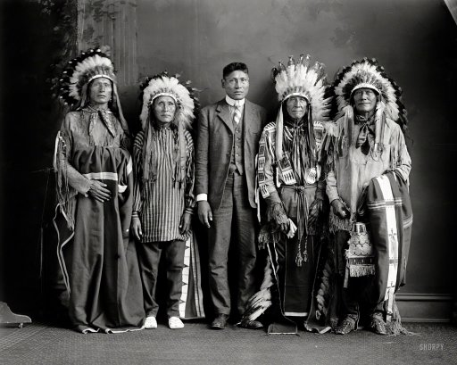 "Washington, D.C., circa 1917. ""Indians: Redwater and group."" (Courtesy Shorpy.com 