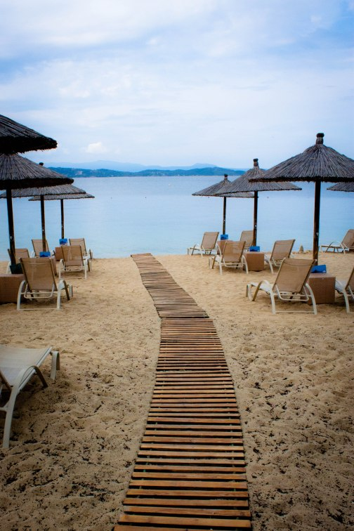 Walkway to the sea at the Eagles Palace Hotel and Spa, Halkidiki, northeast Greece