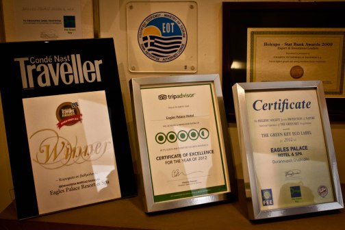 Eagles Palace Boutique Luxury Hotel has won many awards.