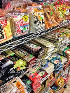 Colorful packages of noodles line the shelves at Hana Japanese Market in Washington, DC.