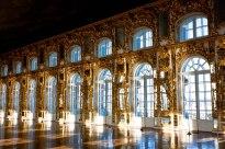 Corridor of windows at Catherine's Palace in Pushkin, St. Petersburg, Russia.