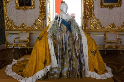 Dress worn by Catherine II; Catherine's Palace in Pushkin, St. Petersburg, Russia.