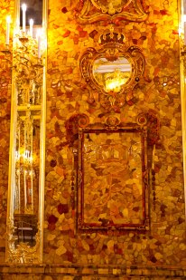 The Amber Room at Catherine's Palace in Pushkin, St. Petersburg, Russia.