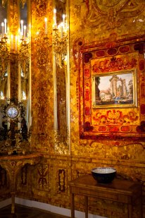 Amber Room at Catherine's Palace in Pushkin, St. Petersburg, Russia.