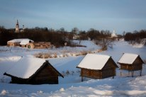 Snowy houses in Suzdal