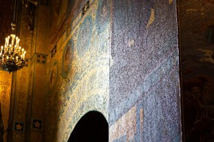 Close-up of the mosaic walls at The Church of the Savior on Spilled Blood in St. Petersburg, Russia.