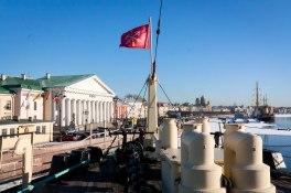 View of the embankment outside of the Icebreaker Krasin Museum in St. Petersburg
