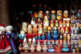 Matryoshka dolls at Udel'naya flea market in St Petersburg