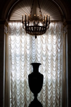 Curtains, a vase and chandelier at Saint Petersburg's State Hermitage Museum