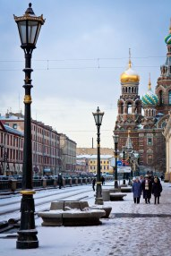 Embankment leading up to The Church of the Savior on Spilled Blood in St. Petersburg, Russia.