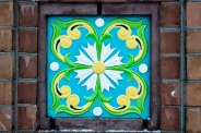 Mosaic tile in entrance gate to the church park at the The Church of the Savior on Spilled Blood, St. Petersburg.