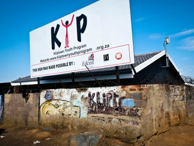 Entrance sign of the Kliptown Youth Program.
